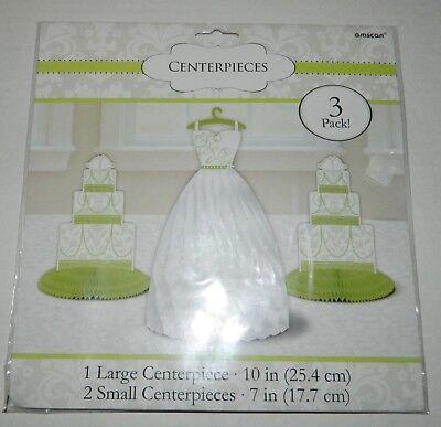 BRIDAL SHOWER Decoration CENTERPIECES 3 Pack DRESS Wedding Cake* NEW