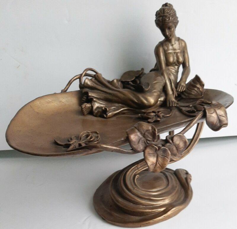 VINTAGE ART NOUVEAU BRONZE CARD JEWELRY PIN SOAP DISH TRAY WOMAN FLOWER LILY PAD