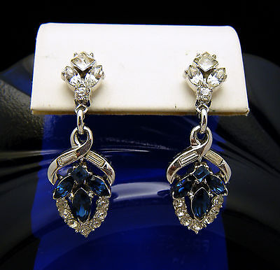 Vintage Crown Trifari Pat Pend Blue Clear Rhinestone Dangle Earrings   on Lookza