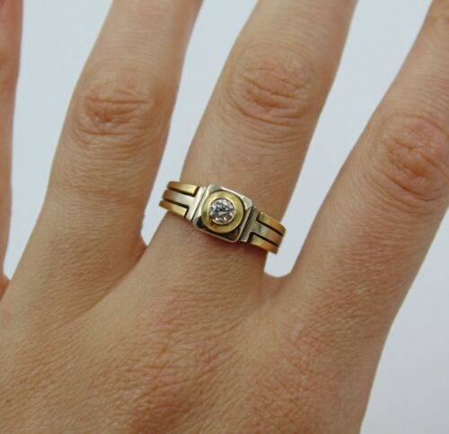 Vintage ¼ Carat Diamond Two-Tone 18K Gold Handmade Ring Size 7.5