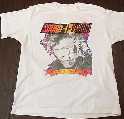"DAVID BOWIE TOUR 1990 2-SIDED SHORT SLEEVE T-SHIRT, ""SOUND + VISION"" XL, USED-VG"