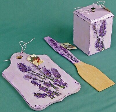 Kitchen set go aboard spatula wooden box with lid lavender box Provence Style decoup