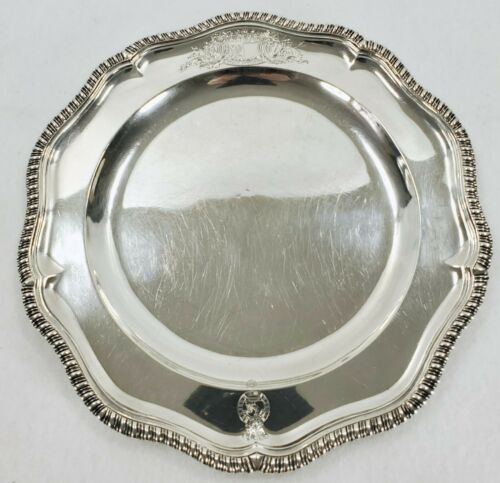 Antique GARRARDS 1849 English Sterling Silver Heraldic Plate AITCHESON Coat Arms
