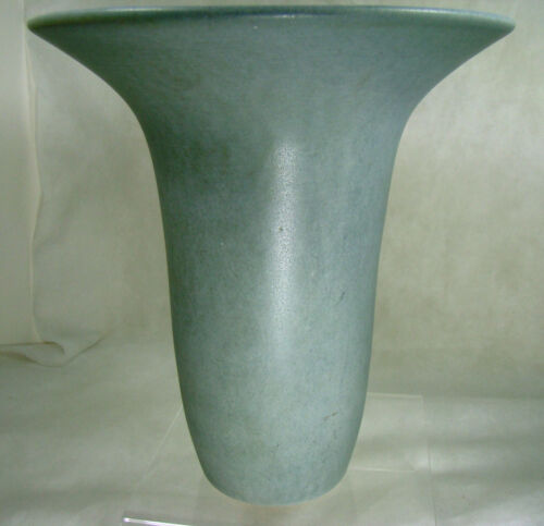 Antique MATTE GREY LARGE TRUMPET Vase Art & Crafts in the style of Marblehead