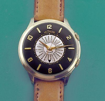 """Vintage 50's """"Jumbo"""" Jaeger Le Coultre Vacheron Bumper Automatic Alarm Watch"""