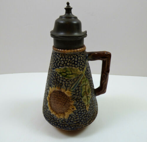 Antique Griffin Smith & Hill Etruscan Majolica Sunflower Pitcher