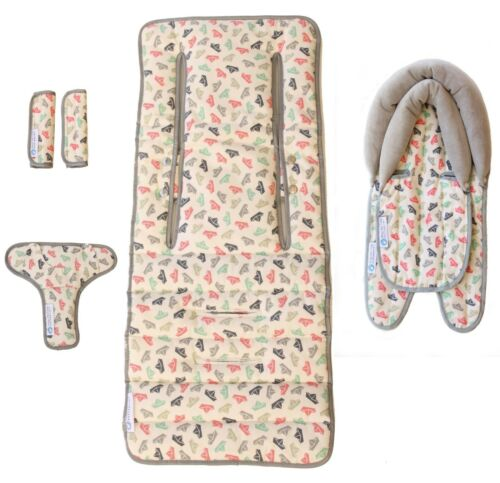 Keep Me Cosy® Newborn Baby Pram Liner Set + Head Support & Harness - Paper Boat