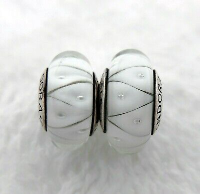 2 Authentic Pandora Silver 925 ALE Murano White Charm Beads #048