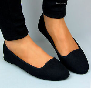 New Womens Ballerina Ballet Dolly Pumps Ladies Black Flat Shoes Size UK Primark