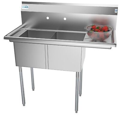 2 Compartment Nsf Stainless Steel Commercial Kitchen Prep Sink - W Drainboard