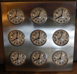 Karlsson Bubble World Time Clock 9 International City Time Zone Stainless Steel