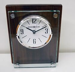 645-776 AMHERST- GLASS AND WOOD CONTEMPORARY TABLE CLOCK BY HOWARD MILLER