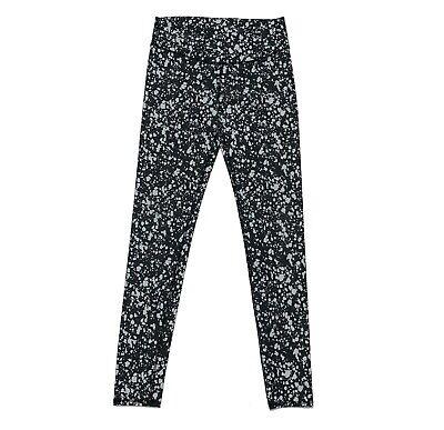 Fabletics Mid Rise Leggings Active Wear Full Length White Black Dots Size XXS