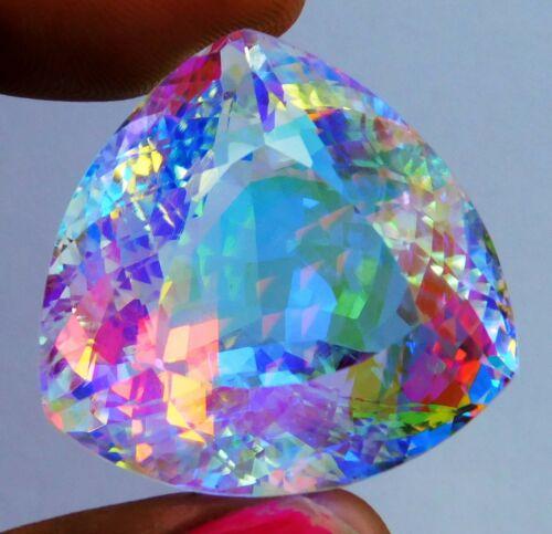 Natural 129.65 Ct Brazilian Mystic Topaz Trillion Cut Loose Gemstone. N- 3220