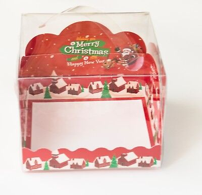 Red 3D Mini Bakery Boxes for Cake/Dessert Christmas Holiday Party Gift, 6 ct
