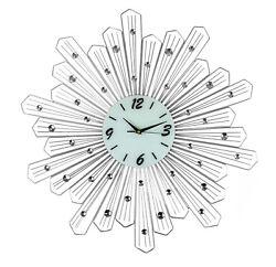 Round Spoke Style Silver Metal Wall Clock Bejeweled Sunburst Style Clock Decor