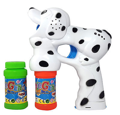 Haktoys Dalmatian Dog Bubble Shooter Gun W  Sound Lights Extra Bottle  Batteries