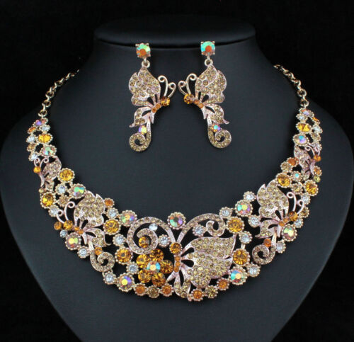 Butterfly Austrian Crystal Rhinestone Necklace Earrings Set Prom Bridal N918