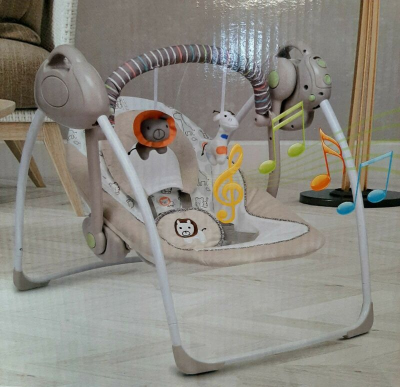 VASTFAFA Soothing Portable Swing Comfort Electric Baby Rocking Chair with Toys