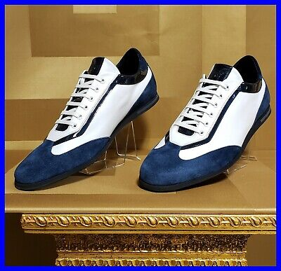 NEW VERSACE WHITE LEATHER and BLUE SUEDE LEATHER SNEAKERS  42 - 9