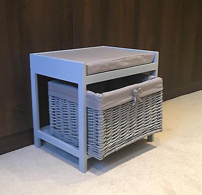 Grey Storage Unit Stool Wicker Rattan Drawer Basket Shabby Chic Cushion Seat  ()