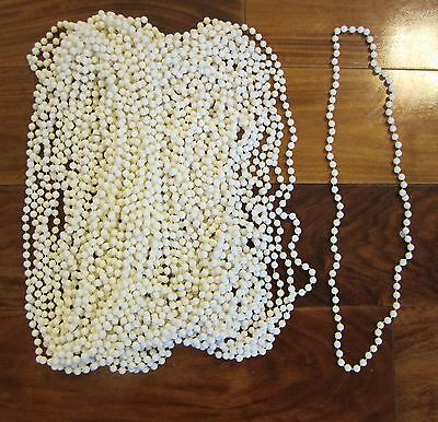 100 WHITE MARDI GRAS BEADS NECKLACES PARTY FAVORS MOTORCYCLE RALLY - Pearl Mardi Gras Beads