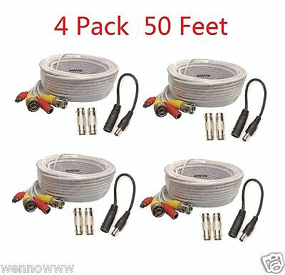 New 4 x 50FT CCTV BNC Male Cables w/ 2 Female Connectors