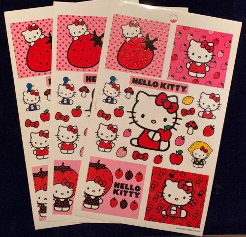 Sanrio HELLO KITTY 3 Large Sheets Stickers! Strawberry Apple Lemon BOW
