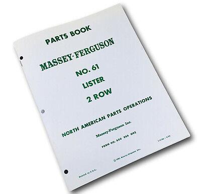 Massey Ferguson No. 61 Lister 2 Row Planter Parts Manual Catalog Book Schematic