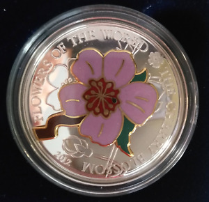 Silver Coin - $5 Cherry Blossom,  Cook Islands