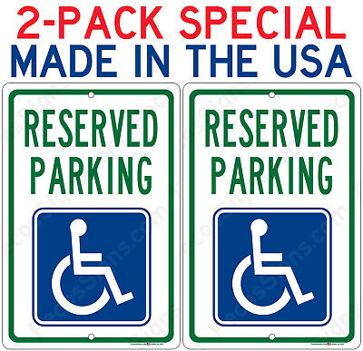 2-pack Reserved Handicap Parking Sign Only 8.65 Each Aluminum Metal Signs 8x12