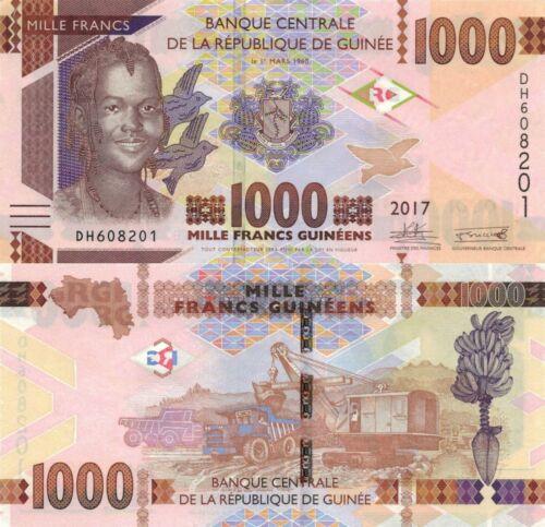Guinea 1000 Francs (2017) - Girl/Ore Mining/p48b UNC