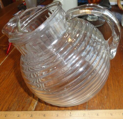 Vintage  Deco Clear Glass Manhattan  Pattern tilted pitcher 8 in tall