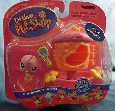 Littlest Pet Shop Walmart #455 pink birdie with bird house / feeder new in pack