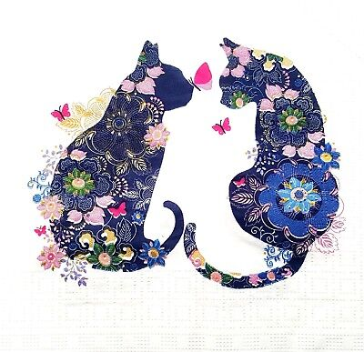 4 Lunch Paper Napkins for Decoupage Craft Vintage Napkin Floral Cats