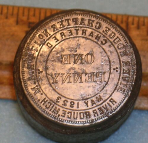 RIVER ROUGE MI Chapter No 174 RAM MASONIC PENNY Stamping Die * MC Lilley
