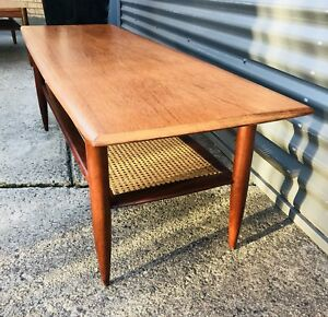 Danish Retro Mid Century Teak and Rattan Coffee Table