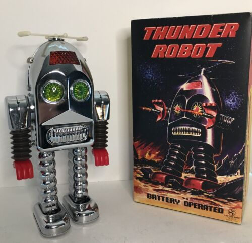 THUNDER Robot  Battery Operated  All Tin Construction  CHROME VERSION