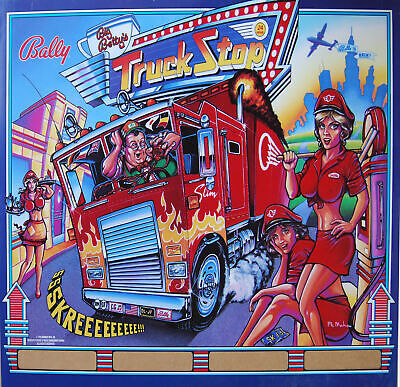 Bally - Truckstop Pinball Translite Backglass - NOS Original not a reproduction.