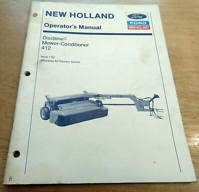 New Holland 412 Discbine Mower Conditioner Operators Manual Nh