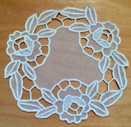 Antique Madeira Work Embroidery Round Goblet Doily Home Decor White Organdy