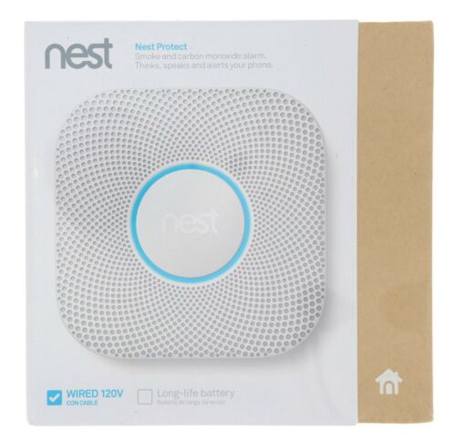 New Google Nest Protect Wired Smoke Carbon Monoxide Alarm White 2nd Gen Detector