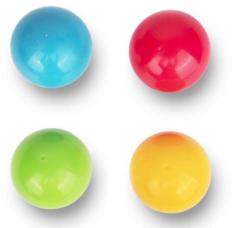 Playkidiz: Durable 4 colored Replacement Plastic Balls for Pound a Ball Toys