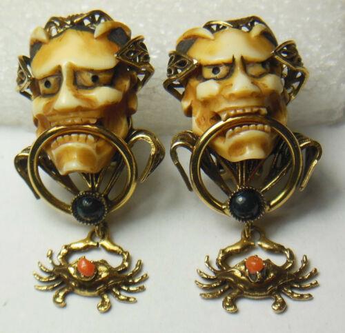 💀💀Old Vtg. Japanese Noh Hannya Demon/Satan/Lucifer/Devil mask clip-on earrings
