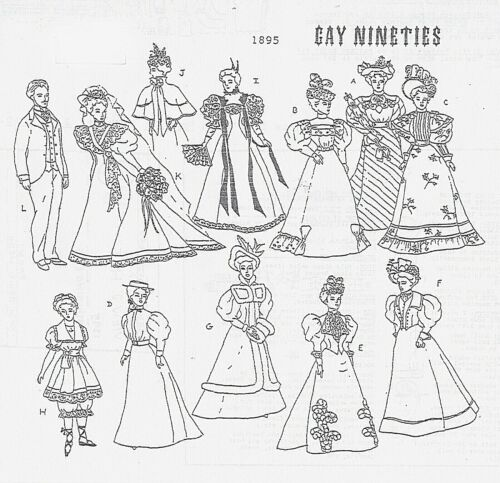 GIBSON GRIL 1895 outfits Doll Pattern For Barbie  and Ken Rare