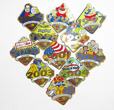 EBAY 1O YEARS 1995 2005 SET OF 11COLLECTIBLE PINS