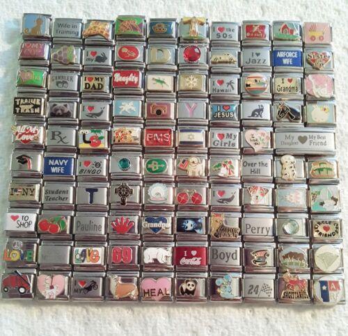 100 Piece ITALIAN  CHARMS 9mm lot # 474 No duplicates -FREE SHIPPING