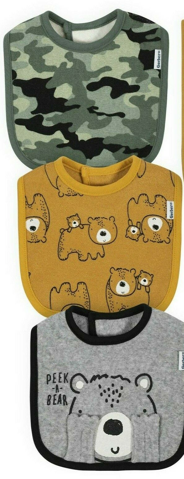 Gerber Baby Boy 3 Pack Organic Bibs NEW Bear, Camouflage Ado