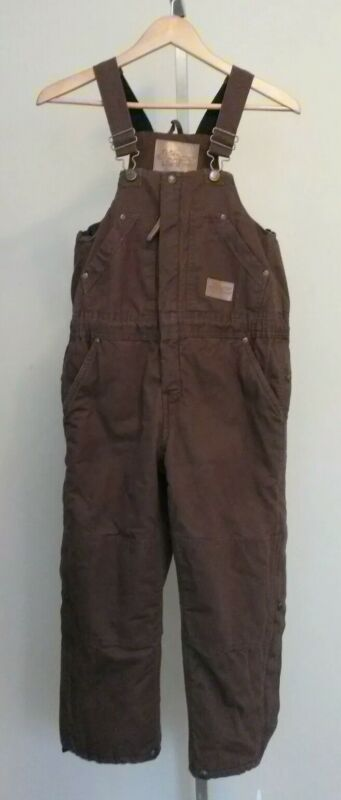 Field N Forest Brown Canvas Insulated Overalls Youth Size Medium 10-12