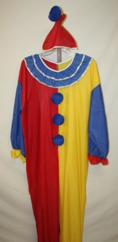 Unisex Mens Womens Red Yellow Blue Halloween Fantasy Clown Costume Size L